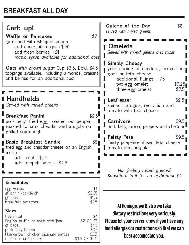Homegrown breakfast all day menu